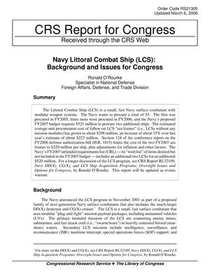 Primary view of object titled 'Navy Littoral Combat Ship (LCS): Background and Issues for Congress'.