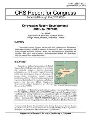 Primary view of object titled 'Kyrgyzstan: Recent Developments and U.S. Interests'.