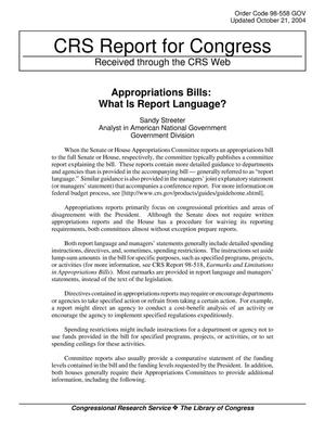 Primary view of object titled 'Appropriations Bills: What Is Report Language?'.