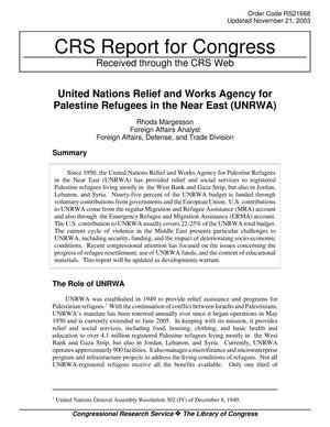 Primary view of object titled 'United Nations Relief and Works Agency for Palestine Refugees in the Near East (UNRWA)'.