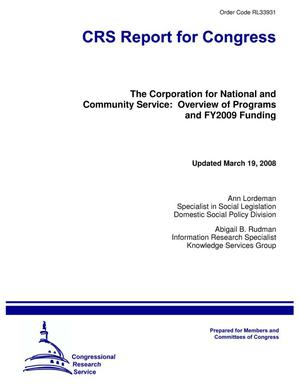 Primary view of object titled 'The Corporation for National and Community Service: Overview of Programs and FY2009 Funding'.