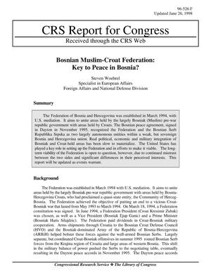 Primary view of object titled 'Bosnian Muslim-Croat Federation: Key to Peace in Bosnia?'.