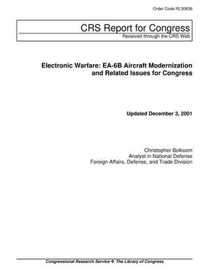 Primary view of object titled 'Electronic Warfare: EA-6B Aircraft Modernization and Related Issues for Congress'.