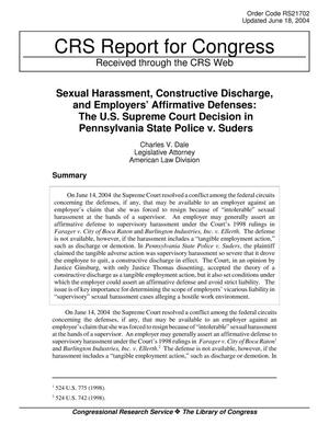 Primary view of object titled 'Sexual Harassment, Constructive Discharge, and Employers' Affirmative Defenses: The U.S. Supreme Court Decision in Pennsylvania State Police v. Suders'.