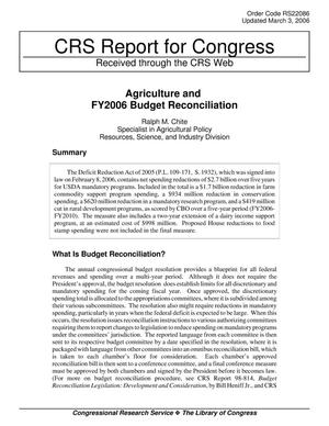 Primary view of object titled 'Agriculture and FY2006 Budget Reconciliation'.