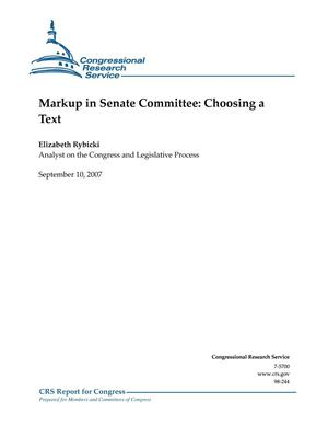 Primary view of object titled 'Markup in Senate Committee: Choosing a Text'.