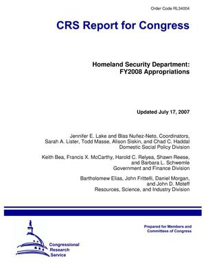 Primary view of object titled 'Homeland Security Department: FY2008 Appropriations'.