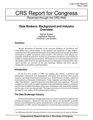 Primary view of object titled 'Data Brokers: Background and Industry Overview'.