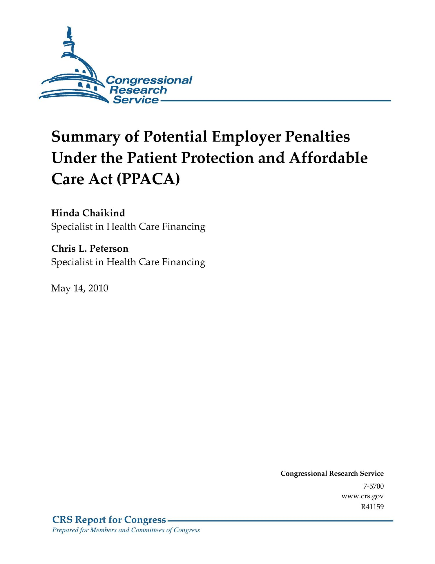 Summary of Potential Employer Penalties Under the Patient Protection and Affordable Care Act (PPACA)                                                                                                      [Sequence #]: 1 of 10