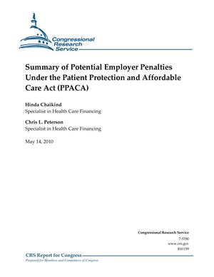 Primary view of object titled 'Summary of Potential Employer Penalties Under the Patient Protection and Affordable Care Act (PPACA)'.