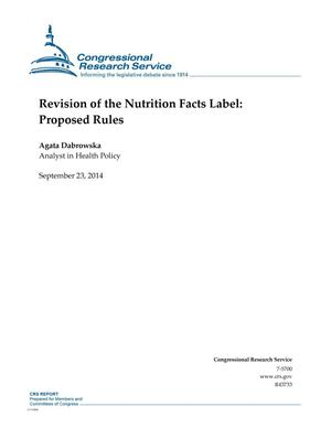 Primary view of object titled 'Revision of the Nutrition Facts Label: Proposed Rules'.