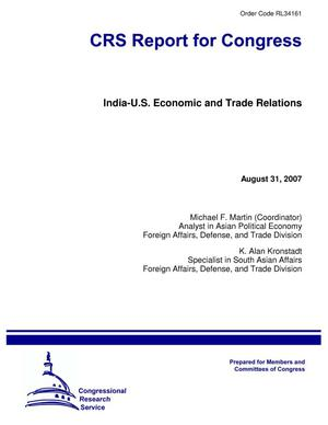 Primary view of object titled 'India-U.S. Economic and Trade Relations'.