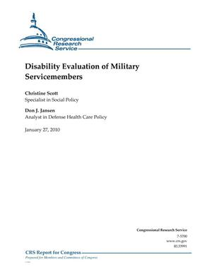 Primary view of object titled 'Disability Evaluation of Military Servicemembers'.