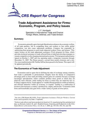 Primary view of object titled 'Trade Adjustment Assistance for Firms: Economic, Program, and Policy Issues'.