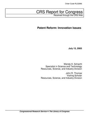 Primary view of object titled 'Patent Reform: Innovation Issues'.