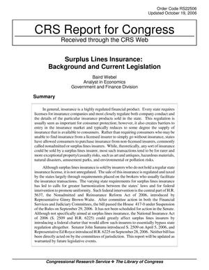 Primary view of object titled 'Surplus Lines Insurance: Background and Current Legislation'.