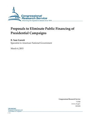 Primary view of object titled 'Proposals to Eliminate Public Financing of Presidential Campaigns'.