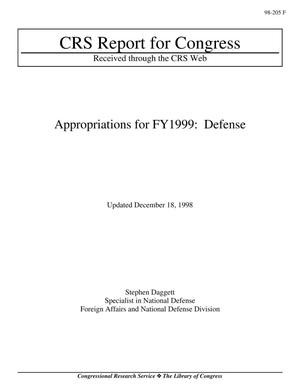 Primary view of object titled 'Appropriations for FY1999: Defense'.