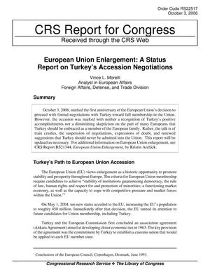 Primary view of object titled 'European Union Enlargement: A Status Report on Turkey's Accession Negotiations'.