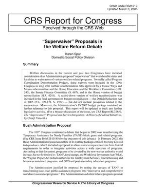 "Primary view of object titled '""Superwaiver"" Proposals in the Welfare Reform Debate'."