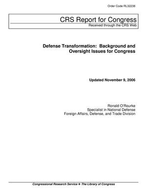 Primary view of object titled 'Defense Transformation: Background and Oversight Issues for Congress'.