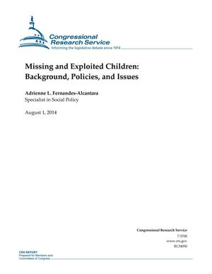 Primary view of object titled 'Missing and Exploited Children: Background, Policies, and Issues'.