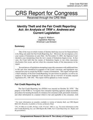 Primary view of object titled 'Identity Theft and the Fair Credit Reporting Act: An Analysis of TRW v. Andrews and Current Legislation'.