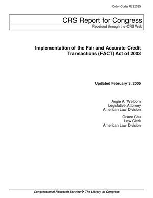 Primary view of object titled 'Implementation of the Fair and Accurate Credit Transactions (FACT) Act of 2003'.