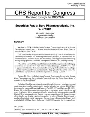 Primary view of object titled 'Securities Fraud: Dura Pharmaceuticals, Inc. v. Broudo'.