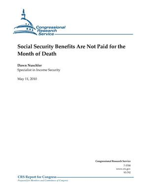 Primary view of object titled 'Social Security Benefits Are Not Paid for the Month of Death'.