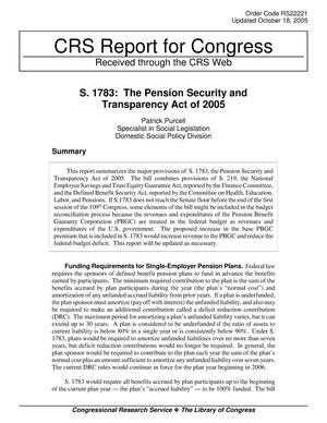 Primary view of object titled 'S. 1783: The Pension Security and Transparency Act of 2005'.