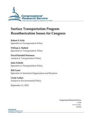 Primary view of object titled 'Surface Transportation Program Reauthorization Issues for Congress'.