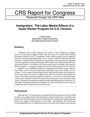 Primary view of object titled 'Immigration: The Labor Market Effects of a Guest Worker Program for U.S. Farmers'.