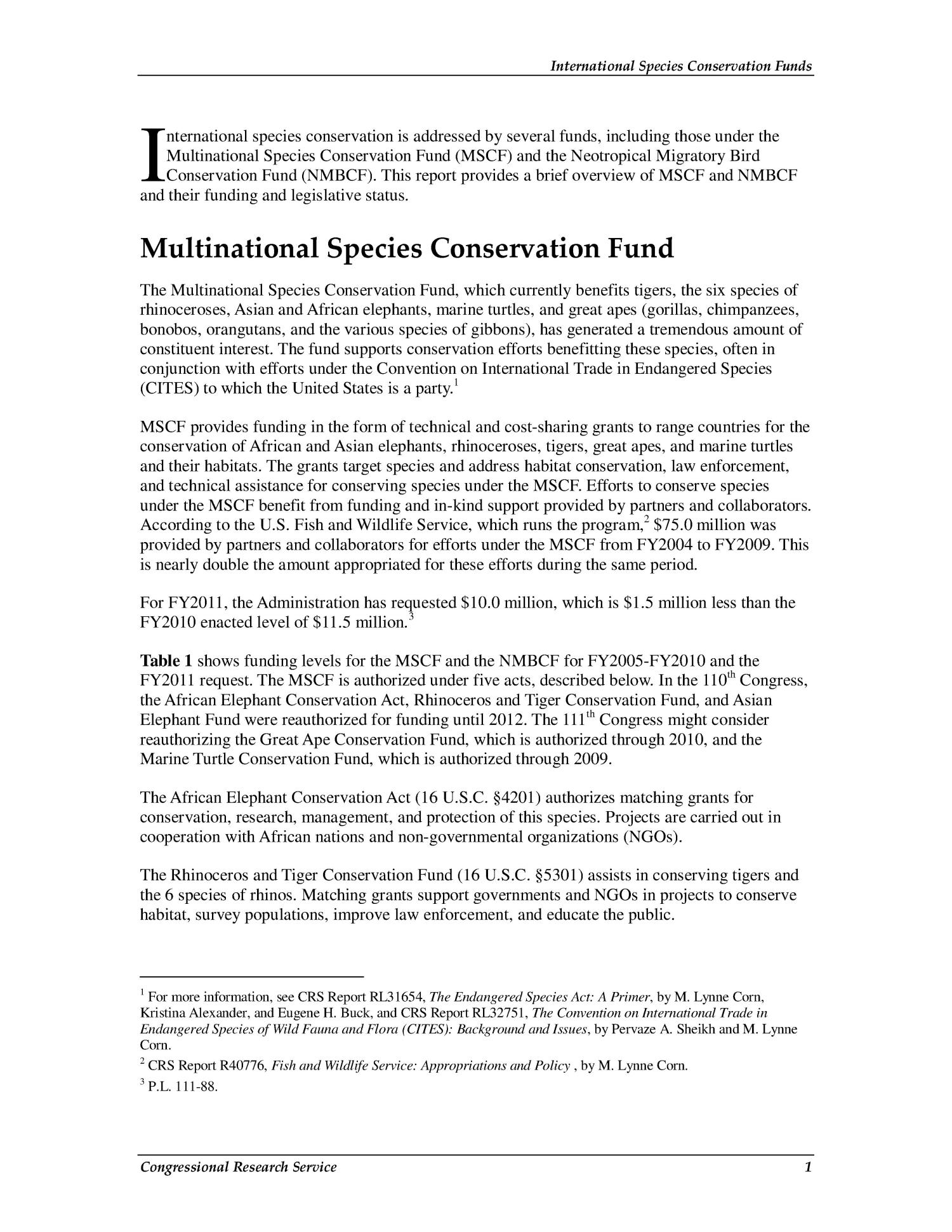 International Species Conservation Funds                                                                                                      [Sequence #]: 4 of 7