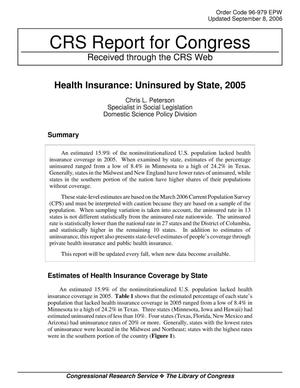 Primary view of object titled 'Health Insurance: Uninsured by State, 2005'.