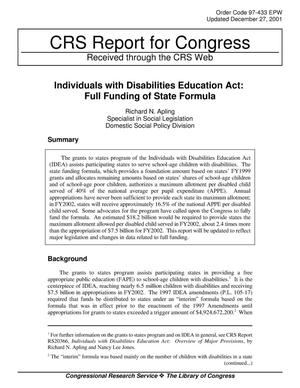 Primary view of object titled 'Individuals with Disabilities Education Act: Full Funding of State Formula'.
