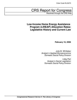 Primary view of object titled 'Low-Income Home Energy Assistance Program (LIHEAP) Allocation Rates: Legislative History and Current Law'.