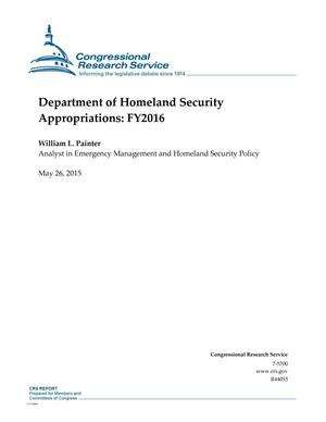Primary view of object titled 'Department of Homeland Security Appropriations: FY2016'.