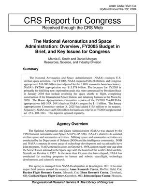 Primary view of object titled 'The National Aeronautics and Space Administration: Overview, FY2005 Budget in Brief, and Key Issues for Congress'.