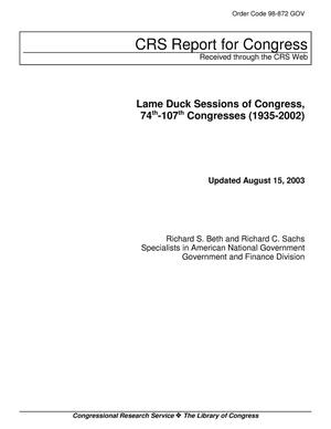 Primary view of object titled 'Lame Duck Sessions of Congress, 74th-107th Congresses (1935-2002)'.