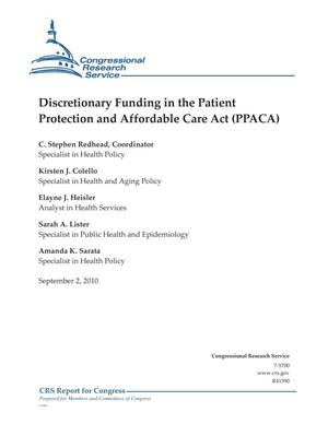 Primary view of object titled 'Discretionary Funding in the Patient Protection and Affordable Care Act (PPACA)'.