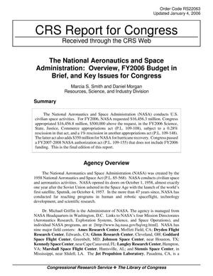 Primary view of object titled 'The National Aeronautics and Space Administration: Overview, FY2006 Budget in Brief, and Key Issues for Congress'.