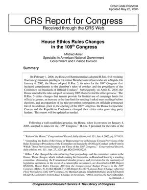 Primary view of object titled 'House Ethics Rules Changes in the 109th Congress'.