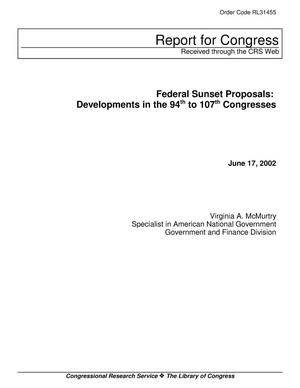 Primary view of object titled 'Federal Sunset Proposals: Developments in the 94th to 107th Congresses'.