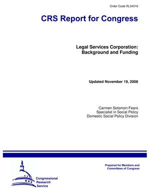 Primary view of object titled 'Legal Services Corporation: Background and Funding'.