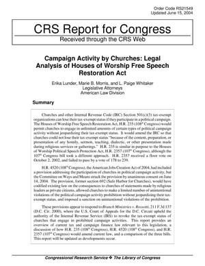 Primary view of object titled 'Campaign Activity by Churches: Legal Analysis of Houses of Worship Free Speech Restoration Act'.