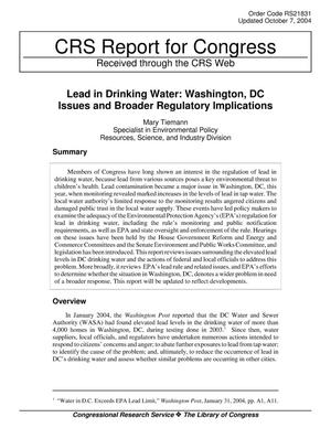 Primary view of object titled 'Lead in Drinking Water: Washington, DC Issues and Broader Regulatory Implications'.