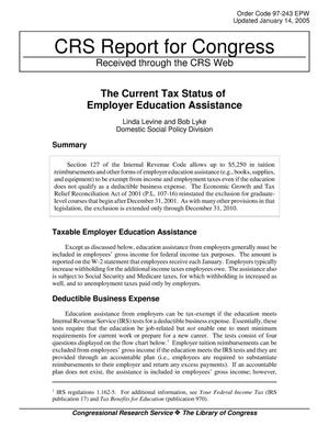 Primary view of object titled 'The Current Tax Status of Employer Education Assistance'.