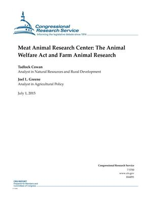 Primary view of object titled 'Meat Animal Research Center: The Animal Welfare Act and Farm Animal Research'.