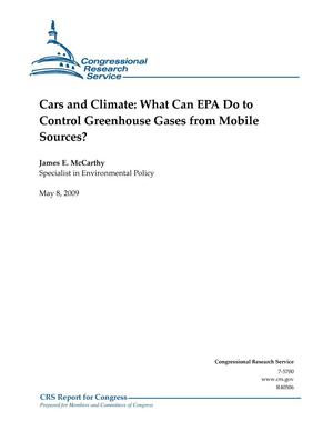 Primary view of object titled 'Cars and Climate: What Can EPA Do to Control Greenhouse Gases from Mobile Sources?'.